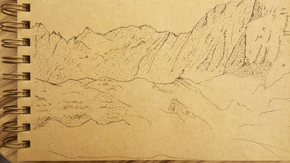 mountain drawing detail