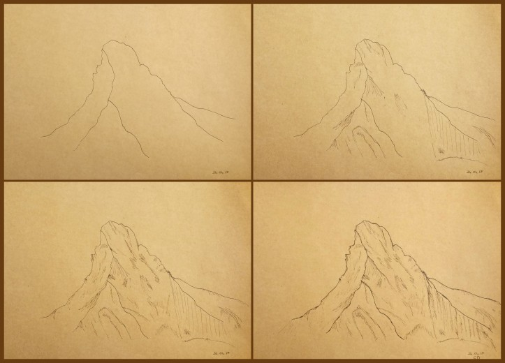 mountain drawing steps