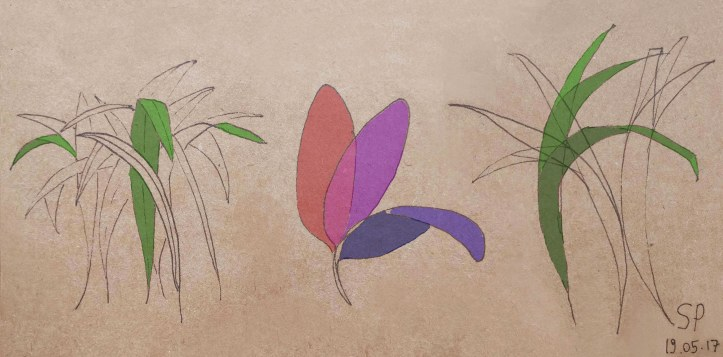 plant bending variation drawing in colors