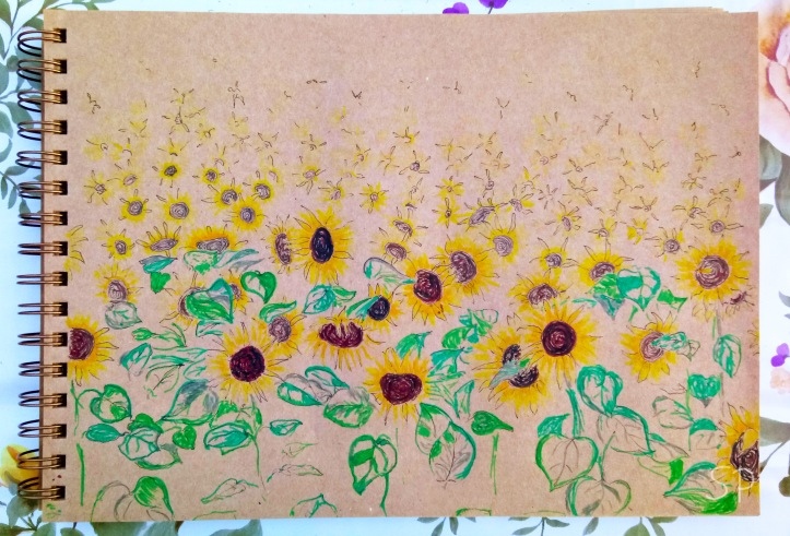 sunflowers drawing progress 5