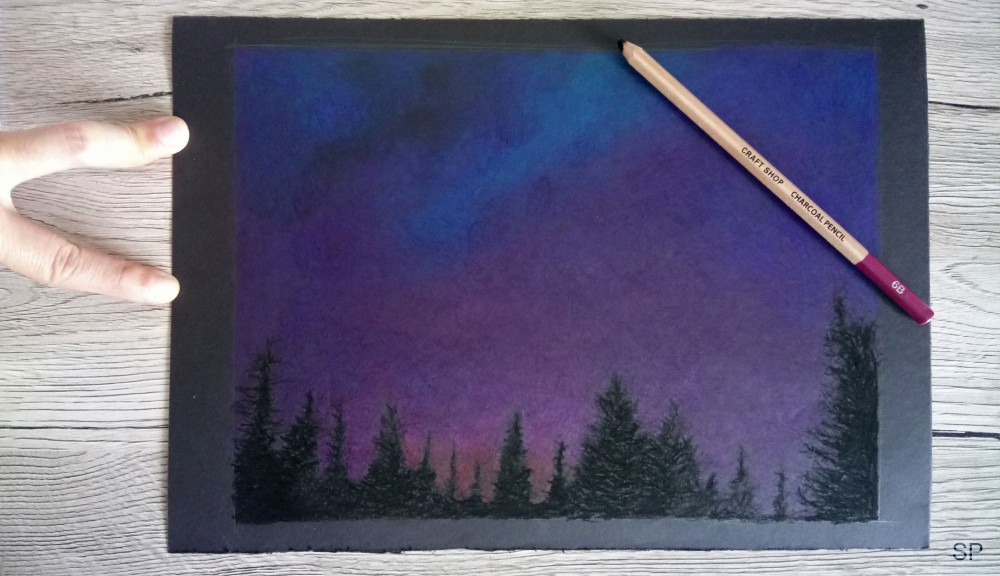 starry night drawing step 2