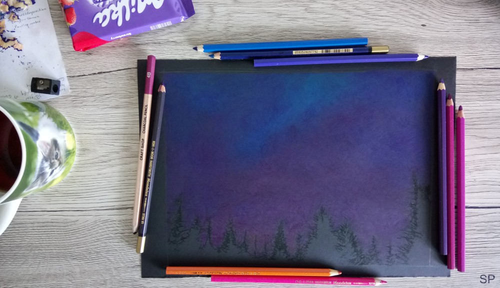 starry night drawing step