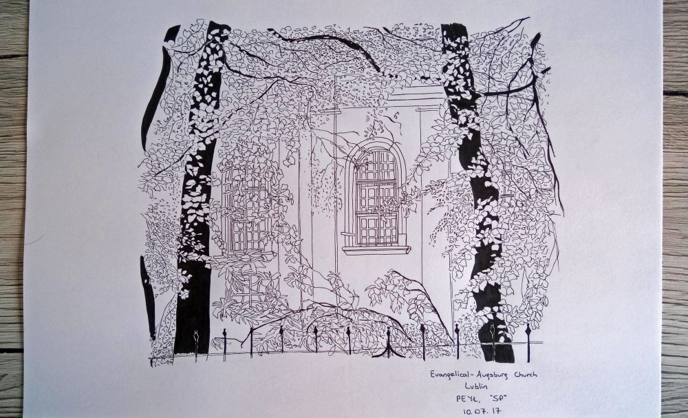 Evangelical augsburg church ink drawing
