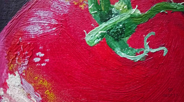 Fragrant tomatoes oil painting detail