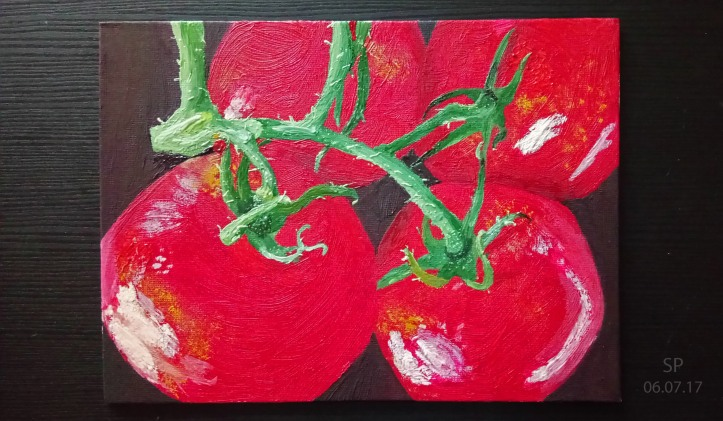 Fragrant tomatoes oil painting