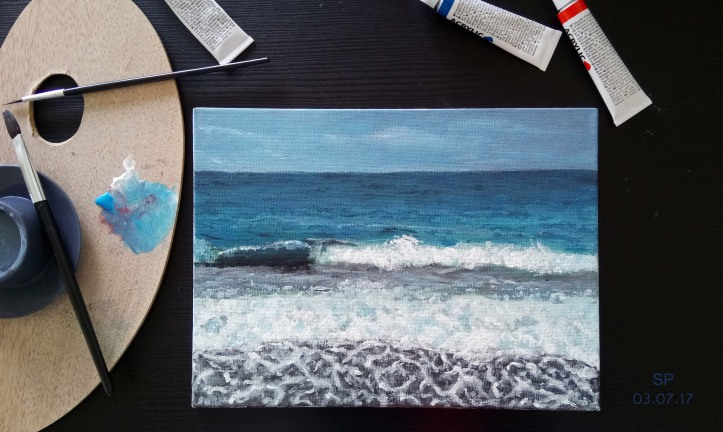 sea and waves acrylic painting SP