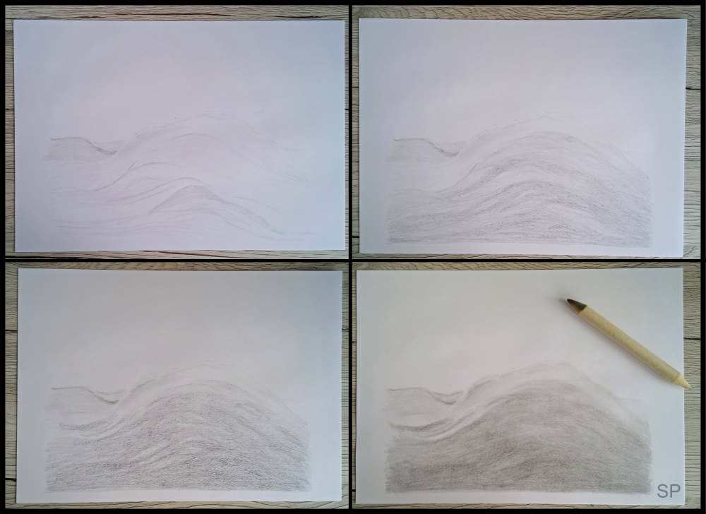 wave and dark clouds drawing steps 1