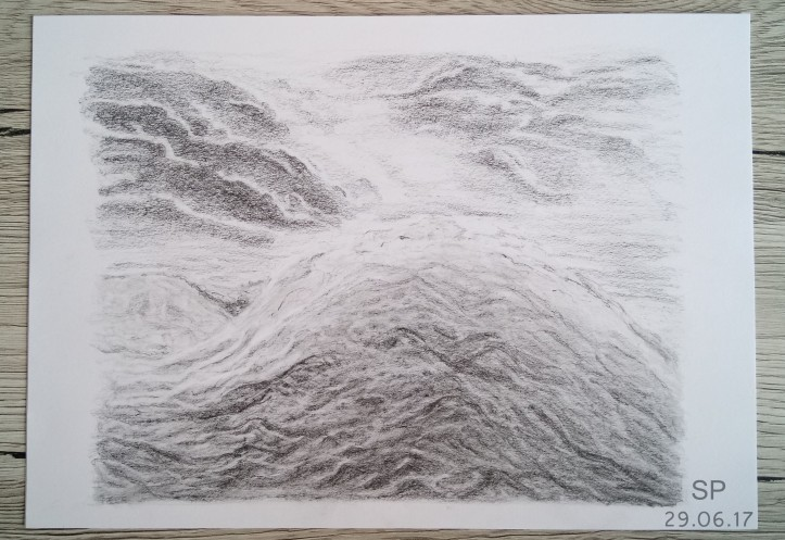 wave and dark clouds drawing