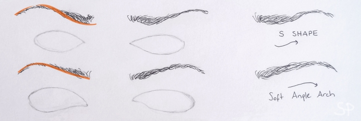 S shape and soft angle arch eyebrows