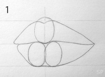 lip drawing steps 1