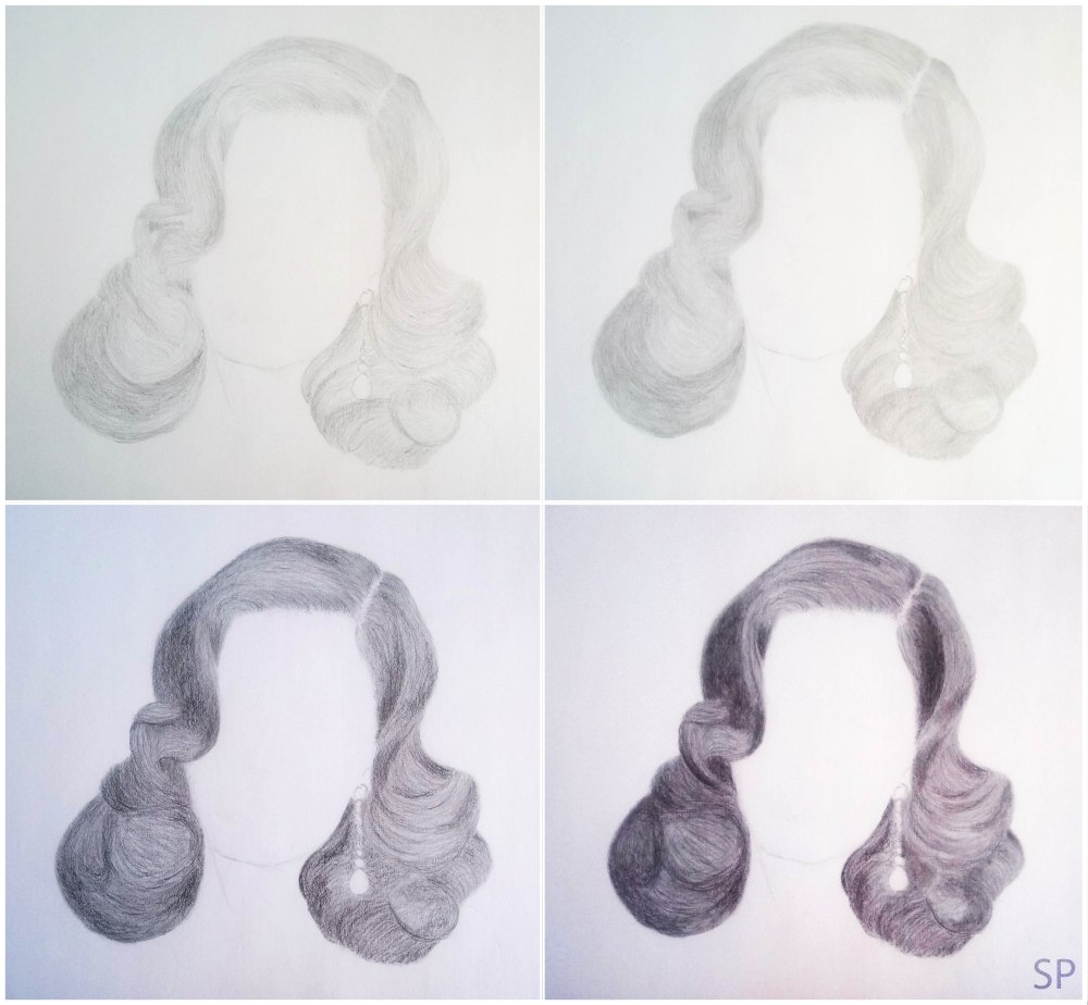 realistic hair drawing steps