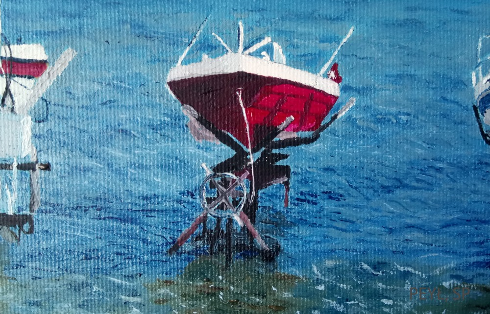 seven boats detail 3 oil painting