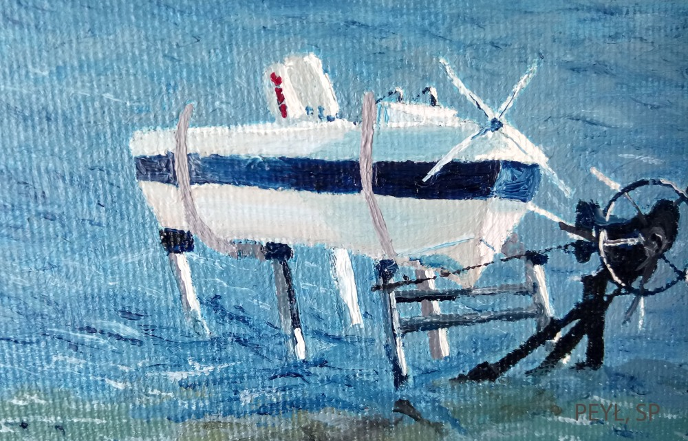 seven boats detail oil painting