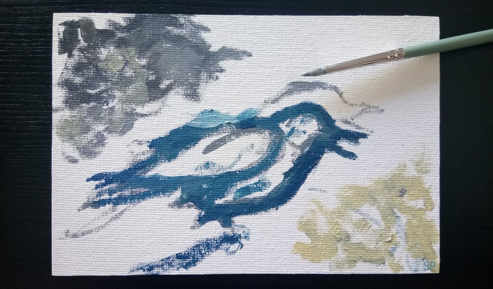 bird oil painting first step
