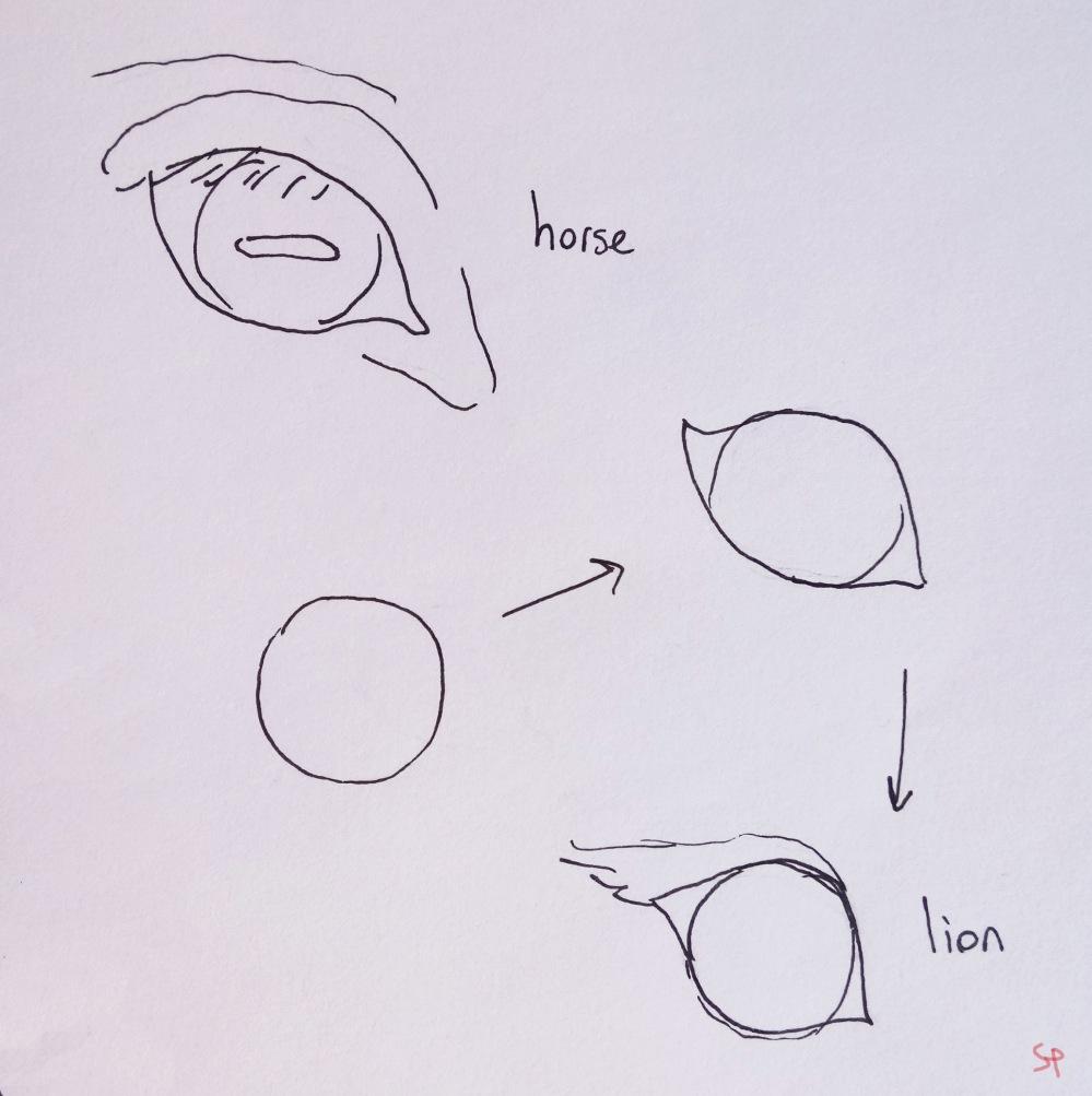 horse lion eyes