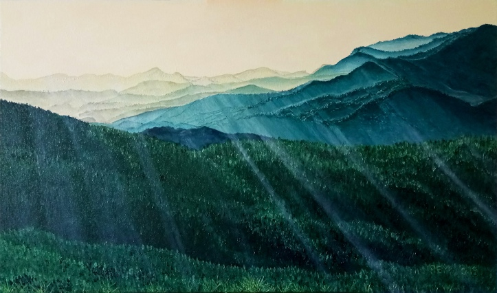 spataso mountain chain oil painting