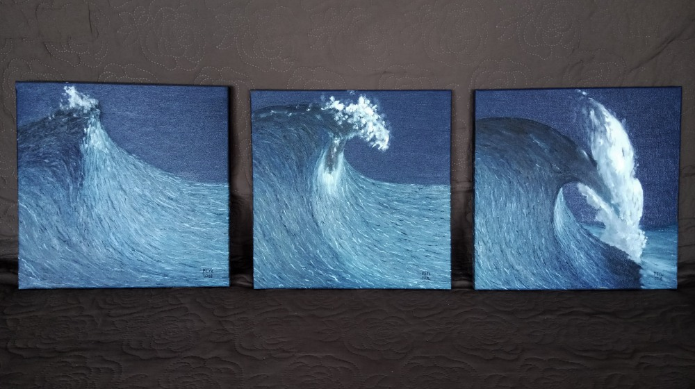 3 step wave oil painting