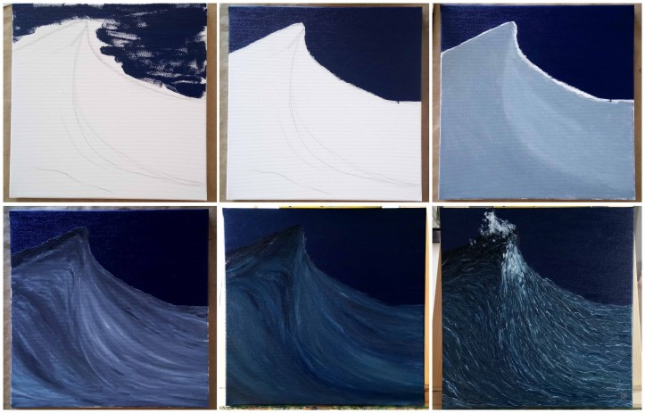 steps of the first painting