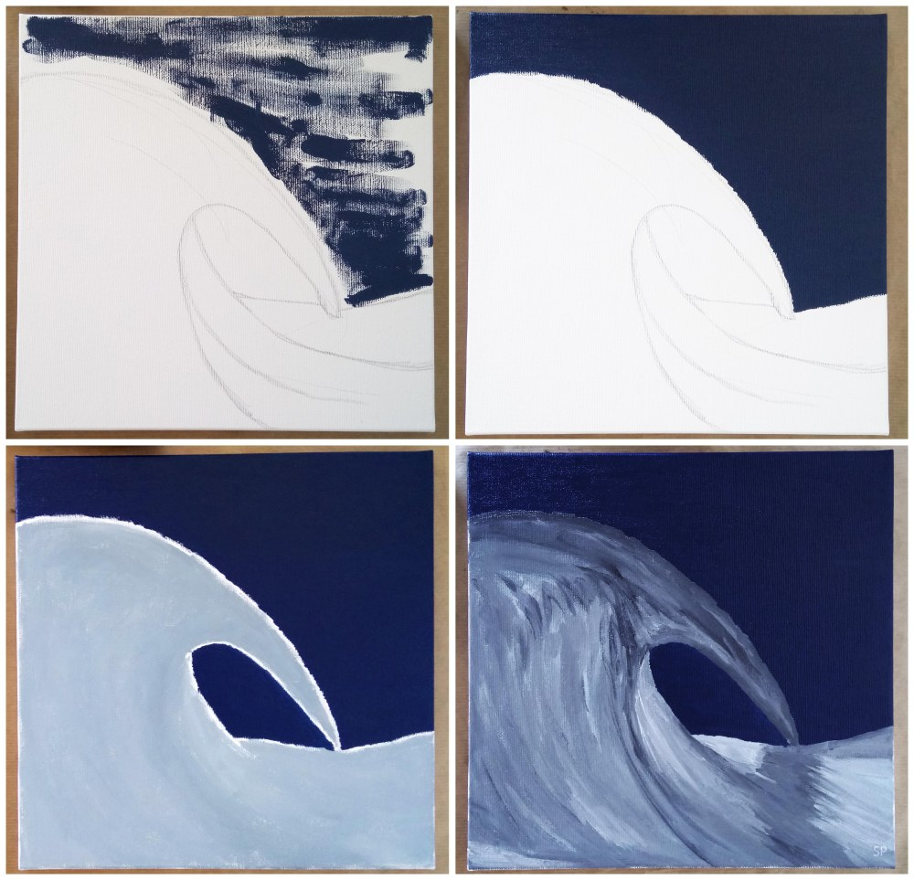 steps of the third painting
