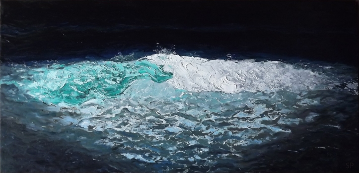 night wave oil painting
