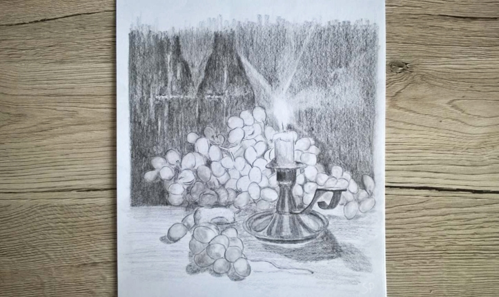 candle and grape still life drawing