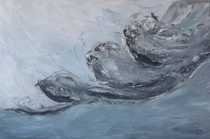 wavy clouds oil painting