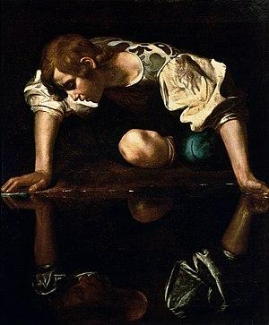 300px-Narcissus-Caravaggio_(1594-96)_edited