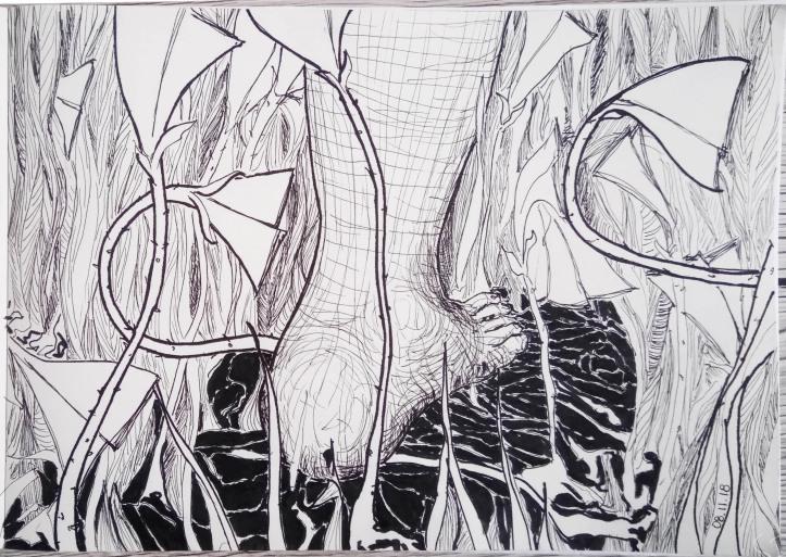 foot and wildflowers sketch ink 2