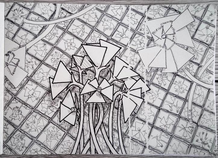 wildflowers sketch ink 3