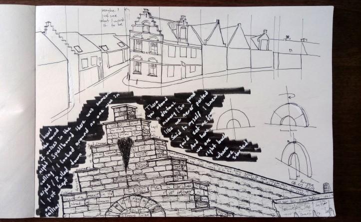 brugge street of dreams ink sketch