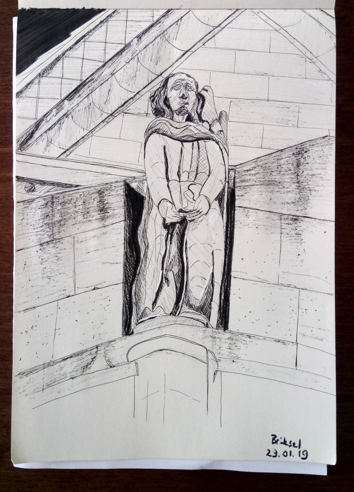 brussels basilica of the sacred heart ink sketch