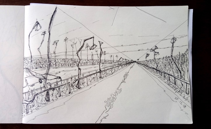 one point weird highway ink sketch