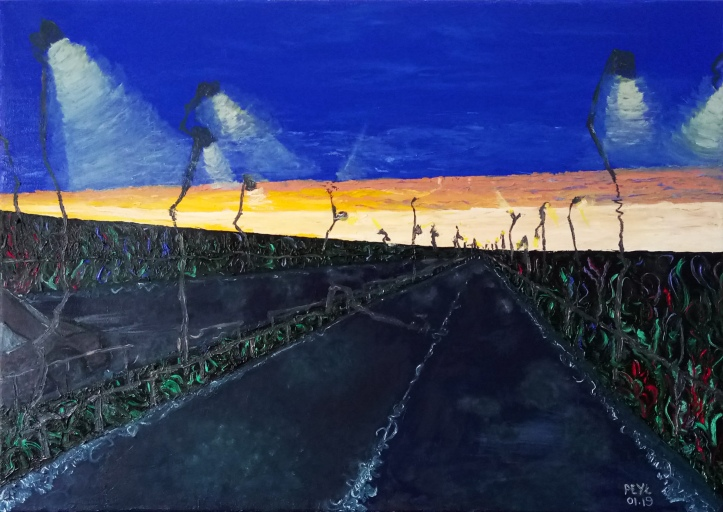 one point weird highway oil painting