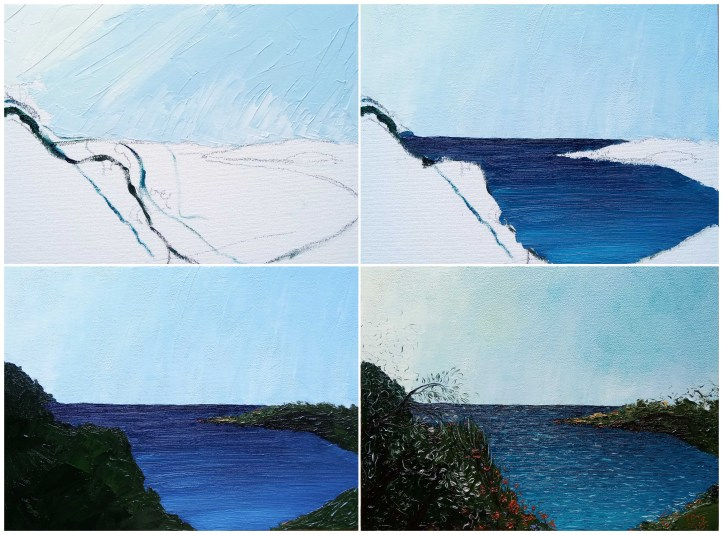 poured sea oil painting progress 3