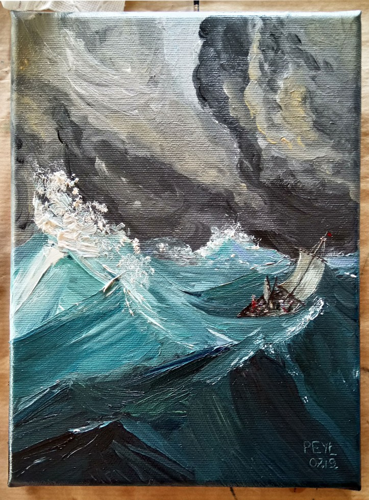 boat in the waves oil painting 2