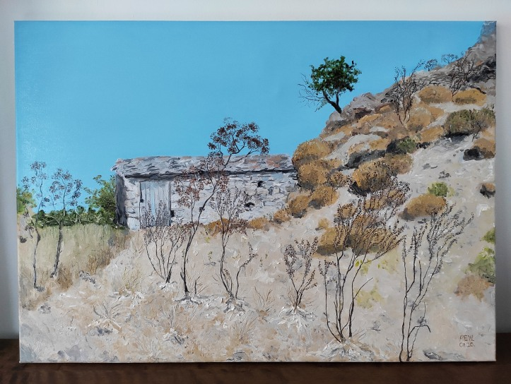 into the wilderness of lesvos oil painting