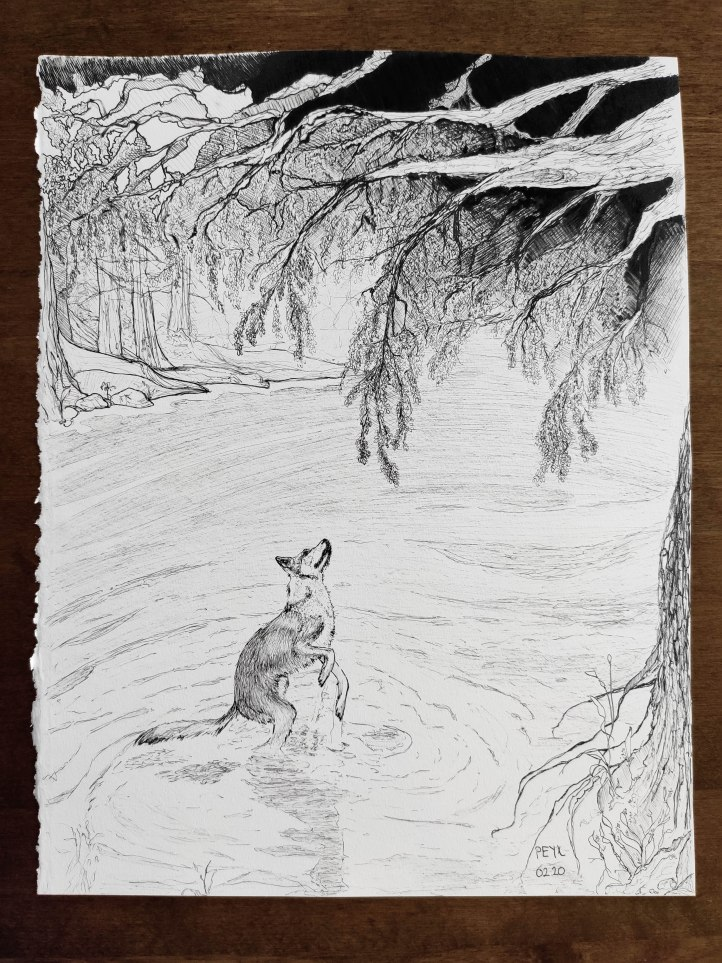 dog under the tree ink drawing