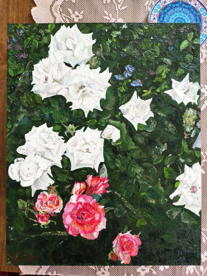 roses oil painting light